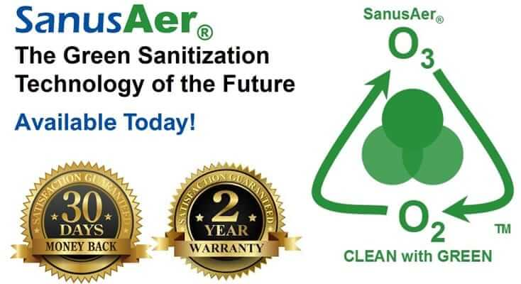 SanusAer Ozone machines use green technology to deodorize, disinfect, and destroy indoor odors and smells.